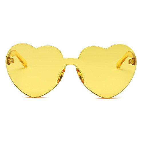 corazón gafas forma en Eyewear color caramelo Amarillo sin de transparente lente sol montura girl de de Inlefen Women 1nqXgwYR