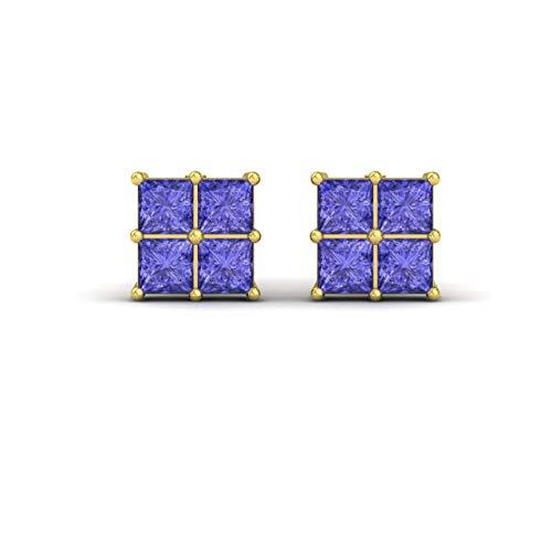 (Diamondere Natural and Certified Princess-Cut Tanzanite Stud Earrings in 14K Yellow Gold | 0.54 Carat Earrings for Women)