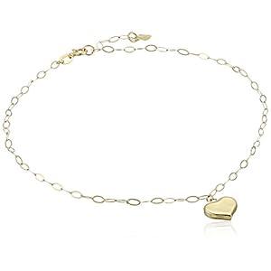 "14k Yellow Gold Heart Charm Anklet, 9"" + 1"" Extender"