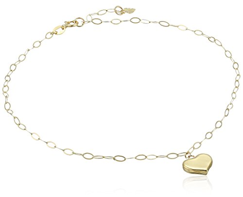 "14k Yellow Gold Heart Charm Anklet, 9"" + 1"" Extender"