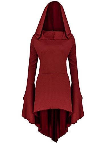 Gemijack Womens Renaissance Costumes Hoodies Long Sleeve High Low Medieval Dress Lace Up Hooded -
