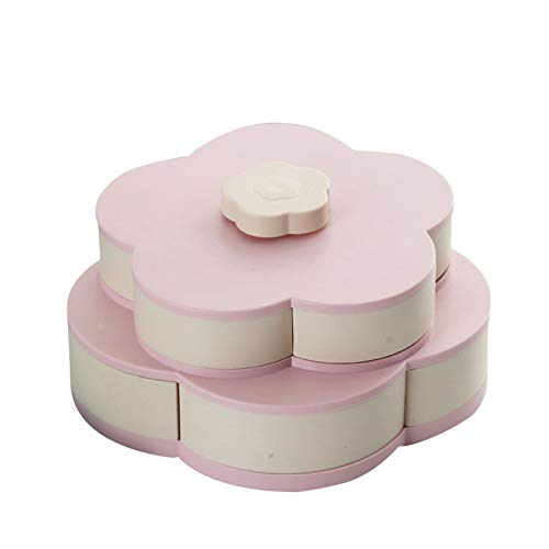 Aslion Snack Box Candy Dish Petal Rotating Dried Fruit Plate Snacks Storage Tray for Christmas Party ()