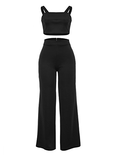 PrettySoul Spaghetti Strap Solid Crop Top Wide Leg Pants Set 2 Piece Outfits for Women Black, Medium - Black Outfit