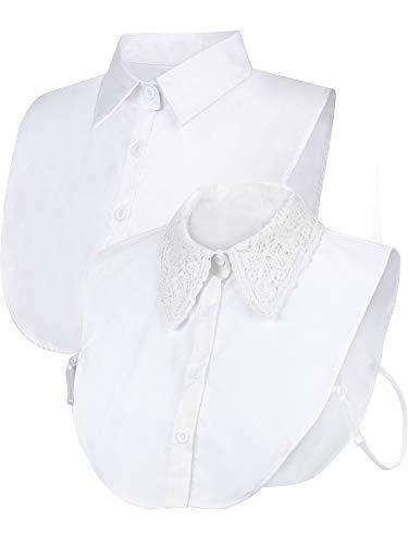 SATINIOR 2 Pieces Faux Collar Detachable Dickey Collar Half Blouse False Collar for Girls Women, White