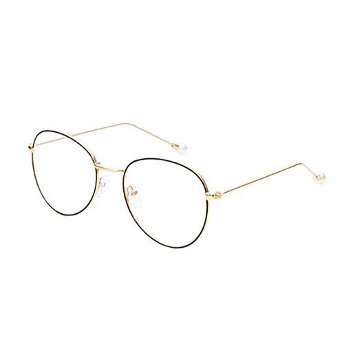 Aiweijia myopie lunettes Lunettes rondes métal Or et Noir en cadre rétro femmes mode lentilles de hommes résine en w88dqr
