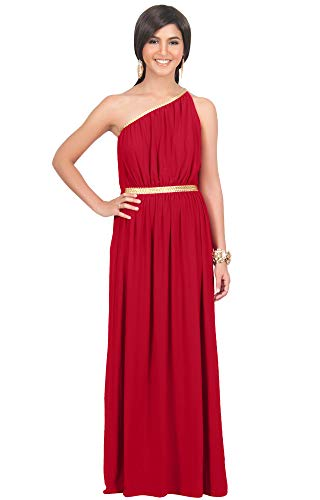 KOH KOH Womens Long One Off The Shoulder Grecian Flowy Summer Formal Evening Bridesmaid Wedding Party Sexy Sundress Gown Gowns Maxi Dress Dresses for Women, Red L 12-14 (2) ()