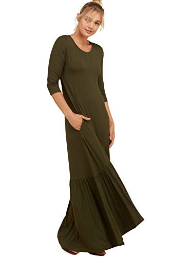 Premium Quarter Round - Annabelle Women's Plus Size Quarter Sleeve Round Neck Hi Low Ruffle Hem with Side Pockets Maxi Dress Olive XXX-Large D5293
