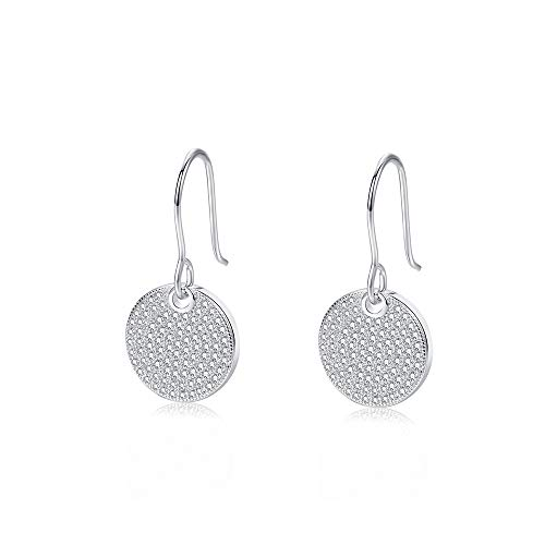 Sterling Silver Pave Circle Disc Earrings