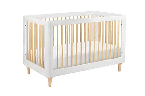 (Babyletto Lolly 3-in-1 Convertible Crib with Toddler Rail, White/Natural)