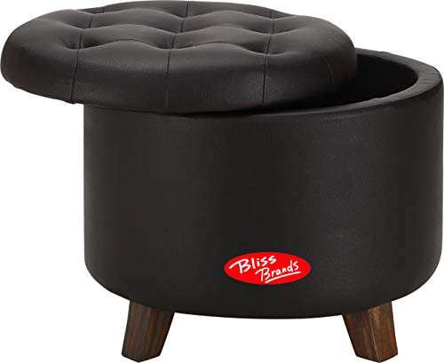 Footrest Style Adirondack (Bliss Brands Storage Ottoman, Faux Leather, Great for Living Room, Guest Room, Office. 2019 Updated Model (Black))