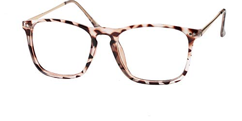 SOOLALA Designer Large Horn Rimmed Clear Lens Eyeglass Frame Reading Glasses, 2.5, Tortoise