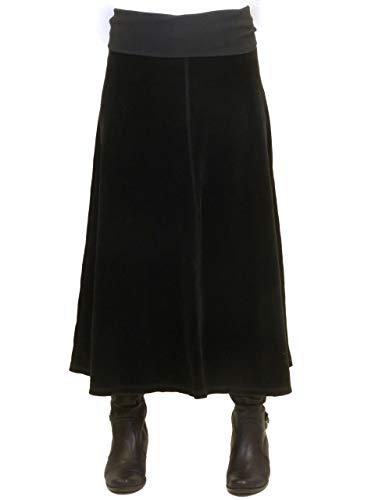 Hard Tail Long Velour Flair Skirt V-128 (L, Black)