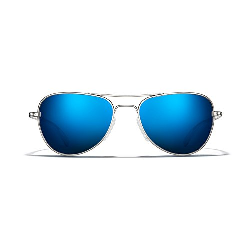 ROKA Rio Ti Performance Aviator Sunglasses for Men and Women - Silver Frame - Carbon Lens with Glacier ()