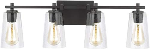 Feiss VS24304ORB Restoration Four Light Vanity Fixture from Mercer Collection in Bronze/Dark Finish, 4, Oil Rubbed