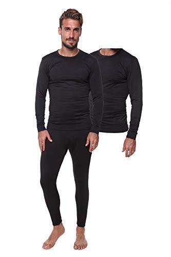 l Set Lightweight Ultra Soft Fleece, Base Layer, Interior Very Warm (Large, Black-Combo) ()