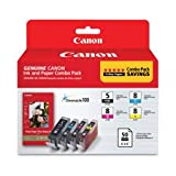 Canon PGI-5 Black/CLI-8 Color Ink Cartridges & Photo Paper Combo Pack