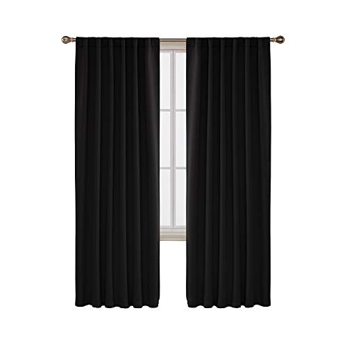 Deconovo Blackout Curtains Back Tab and Rod Pocket Curtains 2 Panels