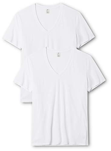 G-Star Raw Men's Base Heather V Neck Tee Short Sleeve 2 Pack,white solid, Medium
