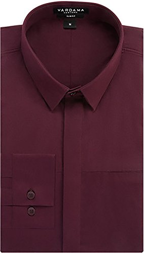 Vardama Men's Stain & Spill Proof Windsor Wine Color Slim Fit Ninth Ave Shirt Slim Fit (Large)