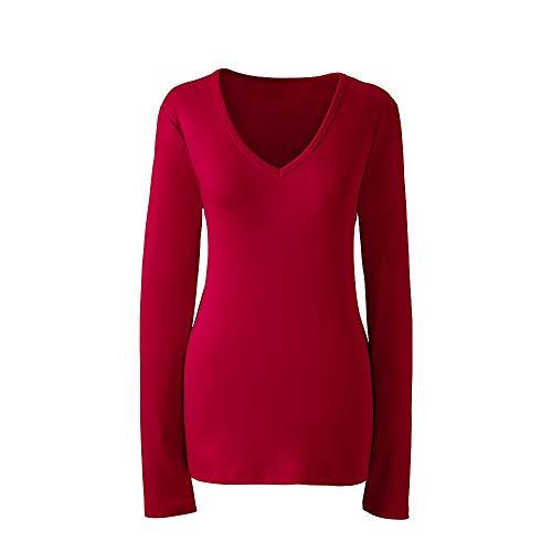Lands' End Women's Plus Size Shaped Long Sleeve Cotton V-Neck T-Shirt, 3X, Rich (Plus Size Classic Cotton V-neck Tees)