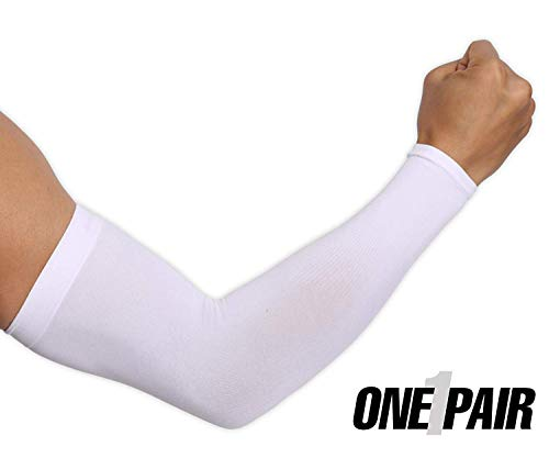 UV Protection Cooling Arm Sleeves - UPF 50 Long Sun Sleeves for Men & Women. Perfect for Cycling, Driving, Running, Basketball, Football & Outdoor Activities. Performance Stretch & Moisture ()
