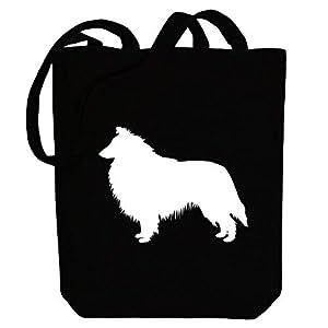 """Idakoos Collie Rough Shape Canvas Tote Bag 10.5"""" x 16"""" x 4"""" 8"""