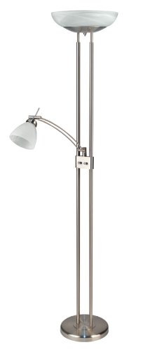 Lite Source LS-8515PS/CLD Stratford Torchiere/Reading Lamp, Polished Steel with Cloud Glass