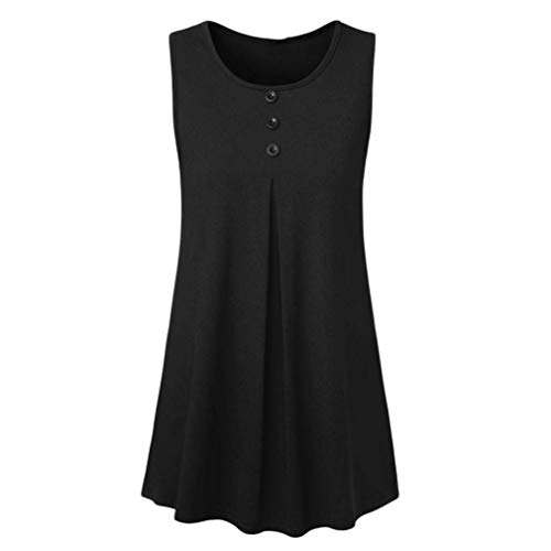 Sinwo Women's Sleeveless Blouse Tunic For Leggings Solid Button Tank Tops (S, Black) (Tie Gown Patient)