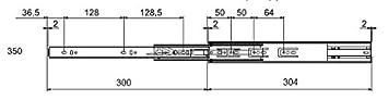 45kg 1 par de gu/ías corredoras a bola para caj/ón L FPK005 L: 550 mm 50 000 ciclos 350//400//450//500//550 mm//extracci/ón total//cierre suave//carga m/áxima