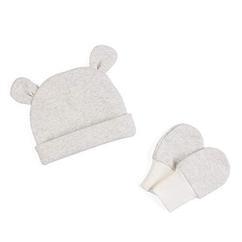 Zsedrut Baby Boys' Girls' Cotton Cap and Scratch Mitten Set Newborn Hat Cotton Gloves (Grey)