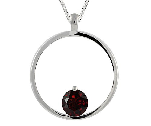 (Hdiamonds Sterling Silver Round Garnet Circle Pendant Necklace)