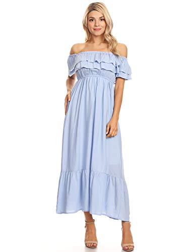 Anna-Kaci Womens Boho Peasant Ruffle Stretchy Short Sleeve Long Dress, Blue, X-Large
