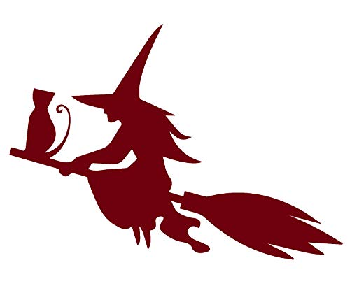 halloween SILHOUETTE OF THE WITCH CAT FLYING ON THE BROOM (BURGUNDY) (set of 2) Premium Waterproof Vinyl Decal Stickers for Laptop Phone Accessory Helmet Car Window Bumper Mug Tuber Cup Door Wall ()