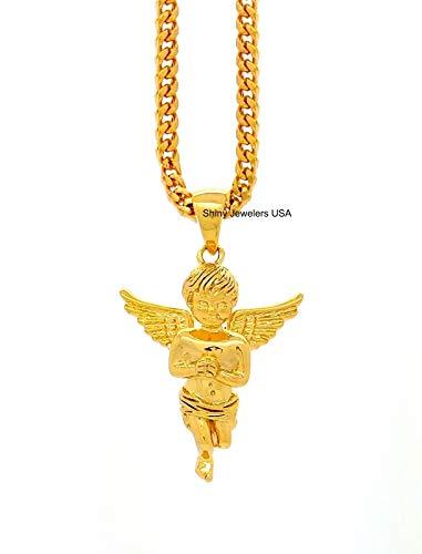 Flying Cherub - Shiny Jewelers USA The 18K Gold GOD Angel Flying Cherub Pendant 24