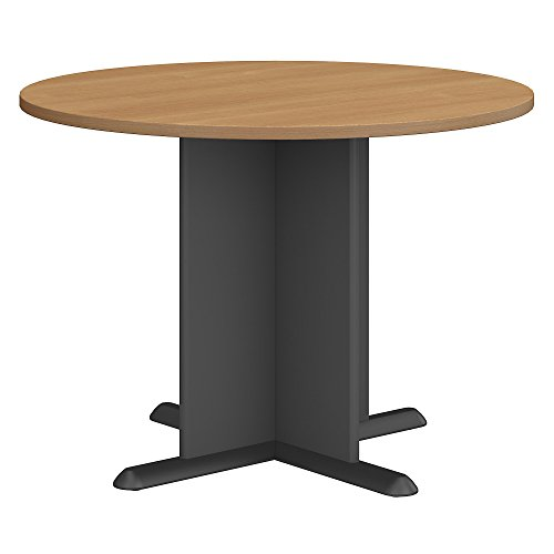 Bush Business Furniture Series A & C 42 Inch Round Conference Table in Light Oak (Folding Standard Table Round Top)