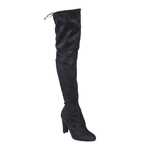 (Wild Diva Lounge Amaya-01 Women's Over The Knee Tie Up High Block Heel Dress Boots,Black,6.5)