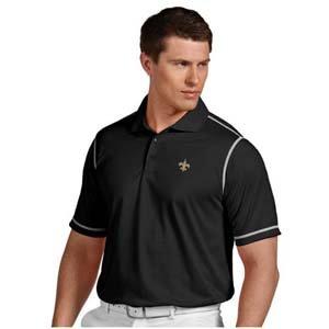 NFL New Orleans Saints Men's Icon Desert Dry Polo, Black/White, X-Large