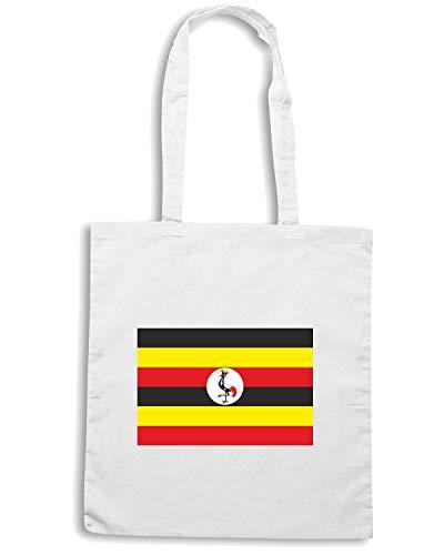 Shopper Bianca UGANDA Borsa Shirt Speed TM0258 FLAG PqUATOx