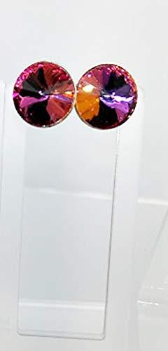 Flaming Volcano 12mm Rivoli Crystal Post - 12 Crystal Icy