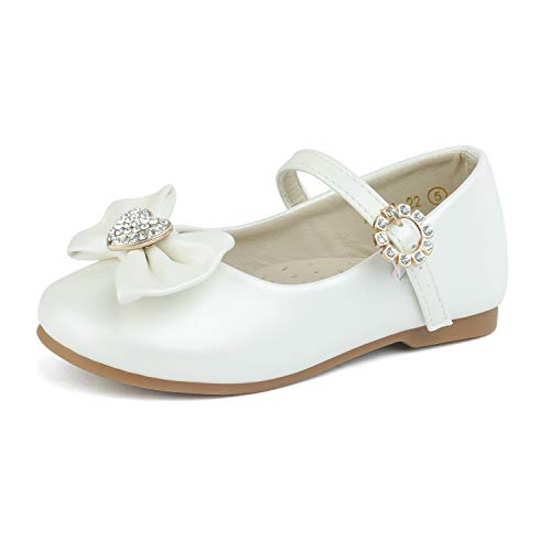 DREAM PAIRS ANGEL-22 Mary Jane Front Bow Heart Rhinestone Buckle Ballerina Flat New Ivory Pu 4 M US Toddler