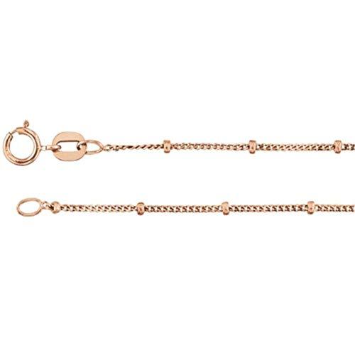 - Bonyak Jewelry 14k Rose Gold 1 mm Solid Beaded Curb 16