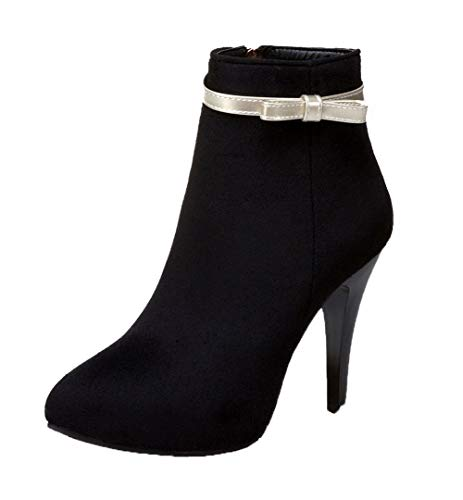 WeenFashion Women's Zipper Closed-Toe High-Heels Frosted Low-Top Boots, AMGXX023517, Black, 40 ()