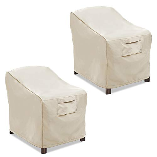 Vailge Patio Chair Covers, Lounge Deep Seat Cover, Heavy Duty and Waterproof Outdoor Lawn Patio Furniture Covers (2 Pack – Large,Beige)