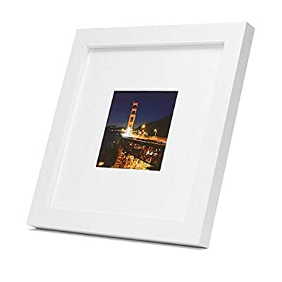 Frametory,Black Square Instagram Photo Frame -8X8 Table-Top (4x4 Matted) - Wide Molding - Built in Hanging Features