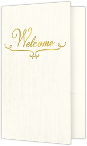 Welcome Folders - Gold Foil Stamped Design - Natural Ivory Linen (25 Qty) | Perfect for Hotel Welcome Baskets, Wedding Programs, Simars, Brochures and so much more! | Two Pockets | WEL-BN100-GF-25 (Envelopes Ivory Foil Gold)