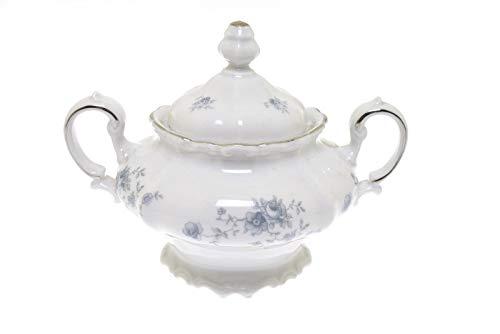 Johann Haviland Blue Garland Bavaria Germany Covered Sugar Bowl