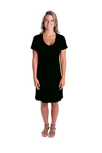 LAT Apparel Ladies 100% Cotton Fine Jersey V-Neck Coverup Short Sleeve Coverup