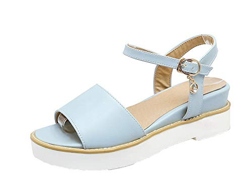 VogueZone009 Women Buckle Pu Open-Toe Low-Heels Solid Sandals, CCALP015009 Blue