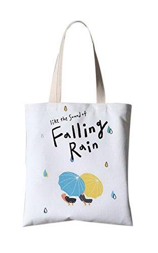 Japanische Art-Blumen-Illustration Leinentasche Einkaufstasche Falling Rains