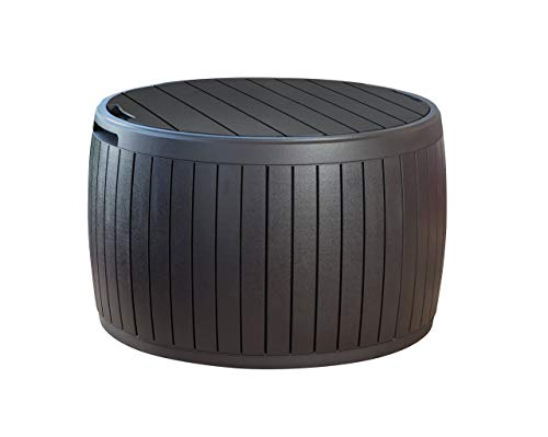 Keter 230897 37 Gallon Circa Natural Wood Style Round Outdoor Storage Table D ()